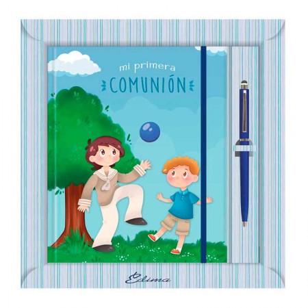 Diario para Primera Comunión más bolígrafo, niños jugando con balón