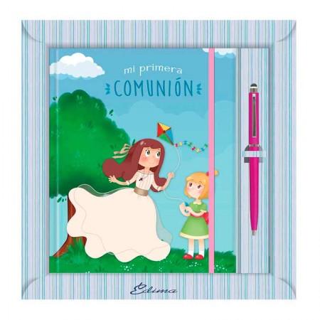 Diario para Primera Comunión más bolígrafo, niñas jugando con cometa