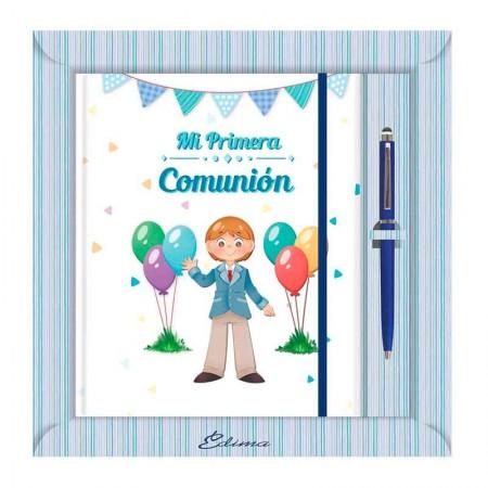 Diario para Primera Comunión más bolígrafo, niño con globos