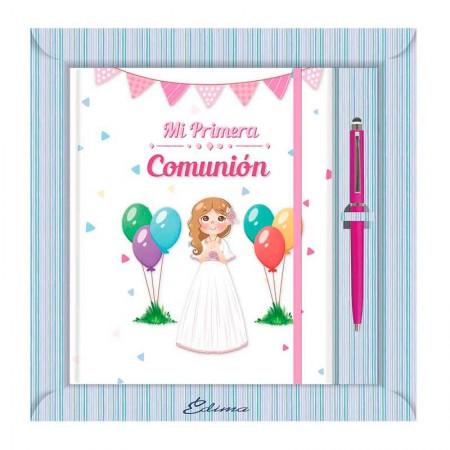 Diario para Primera Comunión más bolígrafo, niña sonriente con globos