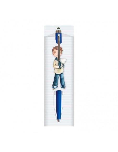 Funda para la presentación de un  bolígrafo, niño Comunión con Cáliz, con un boli azul