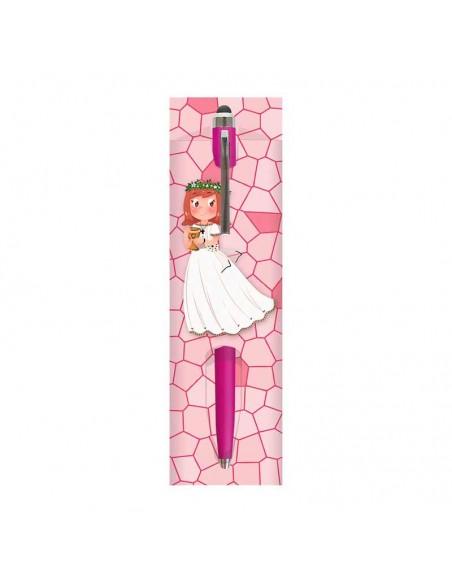 Funda con bolígrafo rosa, niña con cáliz pequeño