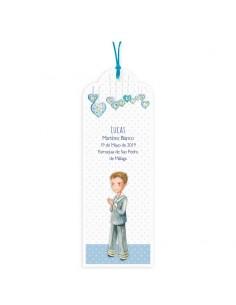 Punto de libro personalizado para Comunión niño con corazones