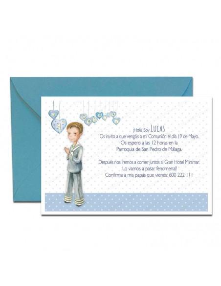 Invitación para comunión niño con corazones