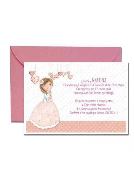 Pack 20 unidades de invitaciones para Comunión, niña corazones más sobre rosa
