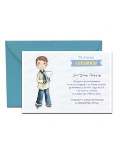 Pack 20 unidades, invitación para Comunión niño con Cáliz más sobre azul