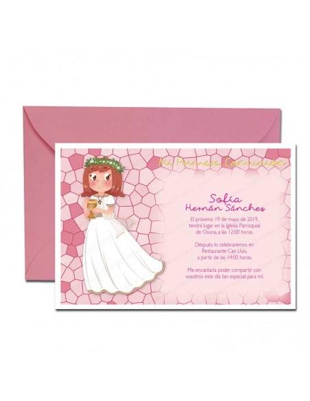 Pack con 20 unidades, invitación para Comunión más sobre rosa, niña con Cáliz pequeño