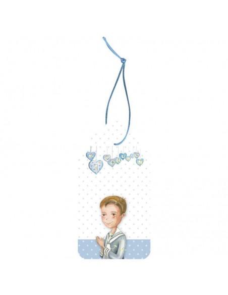 Pack 12 etiquetas para los detalles de comunión. Niño marinero con corazones