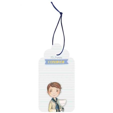 Pack con 12 etiquetas colgantes para comunión. Niño marinero con Cáliz