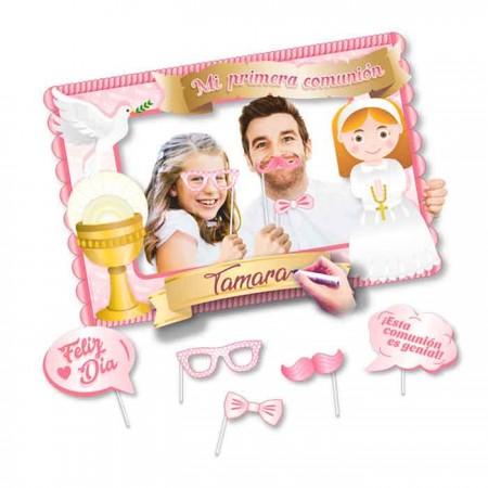 Marco photocall rectangular para comunión, color rosa
