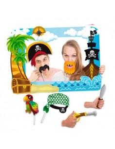 Marco photocall rectangular piratas con 7 accesorios