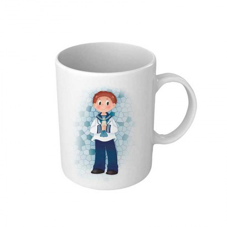 Taza para comunión personalizada, niño marinero con vela