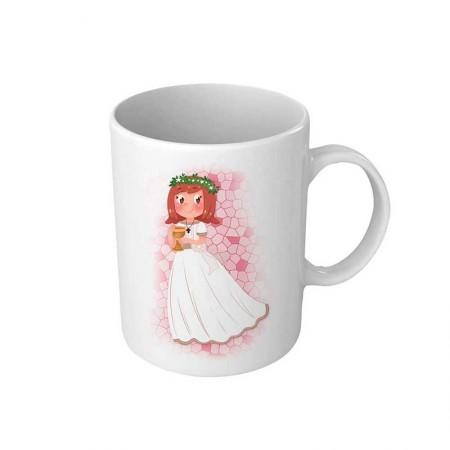 Taza para comunión personalizada, niña con Cáliz pequeño