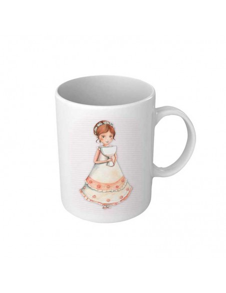 Taza para comunión personalizada, niña sonriente con Cáliz