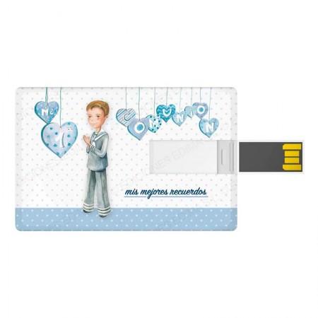 Tarjeta USB, 16 GB, niño marinero corazones. Detalles de comunión