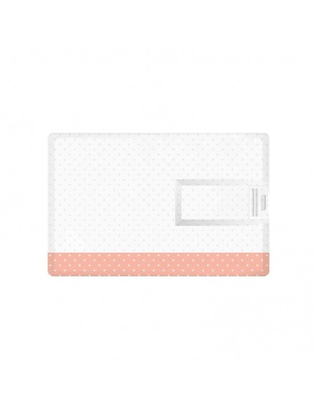 Tarjeta USB, 16 GB y modelo tarjeta visa. Niña con corazones.