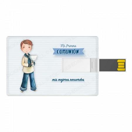 Tarjeta USB, 16 GB, para comunión. Niño marinero con Cáliz