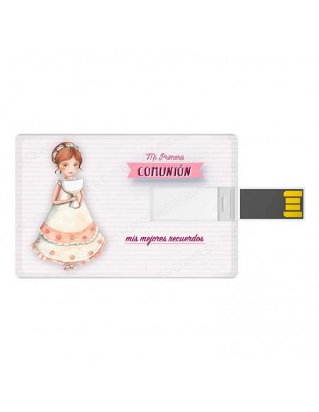 Tarjeta USB, 16 GB, para comunión. Niña con Cáliz grande