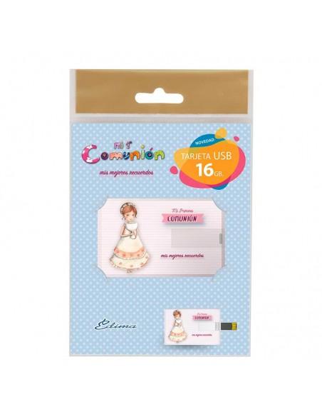 Presentación de la tarjeta con USB, niña con caliz