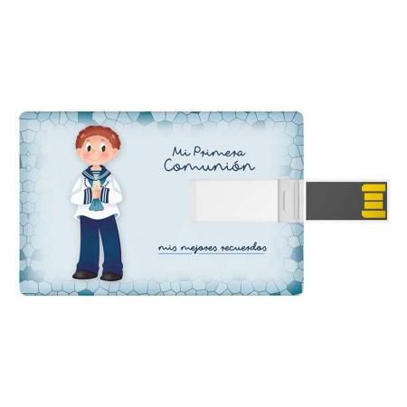 Tarjeta USB, 16 GB, para comunión. Niño marinero con vela
