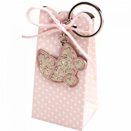 Llavero cochecito rosa con 5 peladillas de chocolate, detalle para bautizo