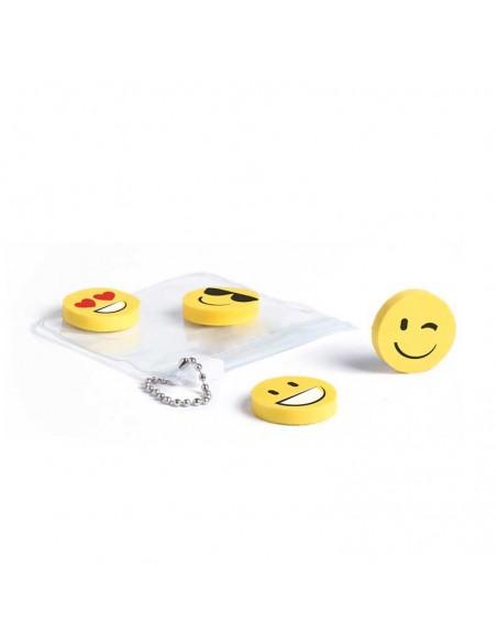 4 gomas con divertidas caras, gafas de sol, ojos corazones, guiño y sonrisas