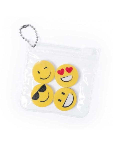 Set 4 originales gomas con caritas emoji en bolsita