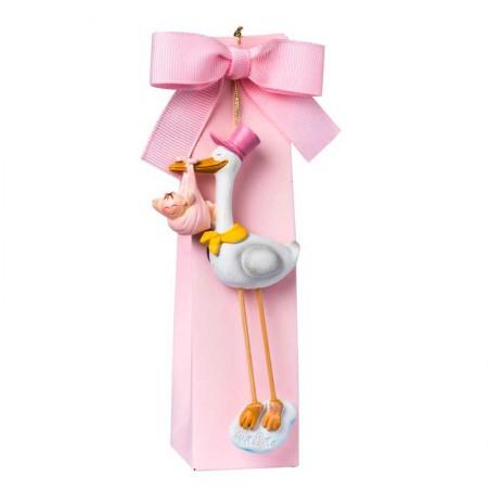 Imán cigüeña bebé niña en caja alta rosa con 5 peladillas, detalle para bautizo