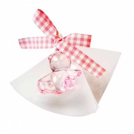 Estuche acetato con 5 peladillas, osita plástico, lazo vichy a rosa y tarjeta personalizada.