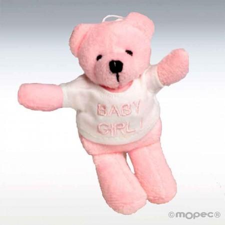Osito rosa amoroso con camiseta baby