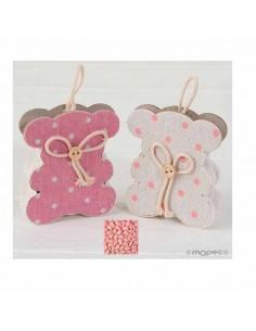 Cajita forma osita rosa ó marfil decorada con topitos, incluye peladillas