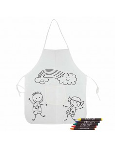 Original delantal decorado con unos niños y nubes, ideal para colorear