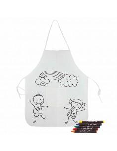 Original delantal decorado con unos niños y nubes, ideal para colorear