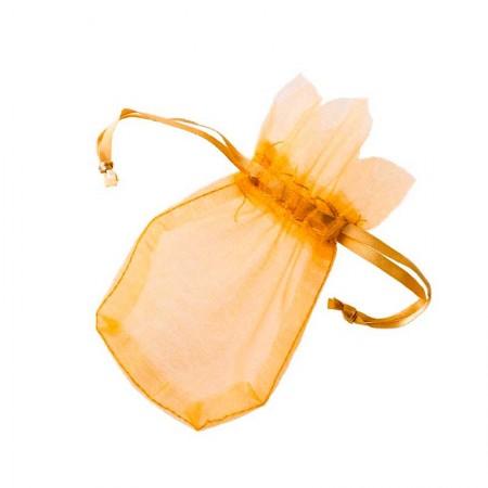 Saquito de cristal oro de  7,7 x 12,5 cm.