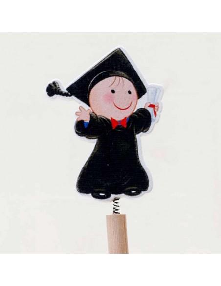 Detalle de la figura unida al lápiz por un muelle