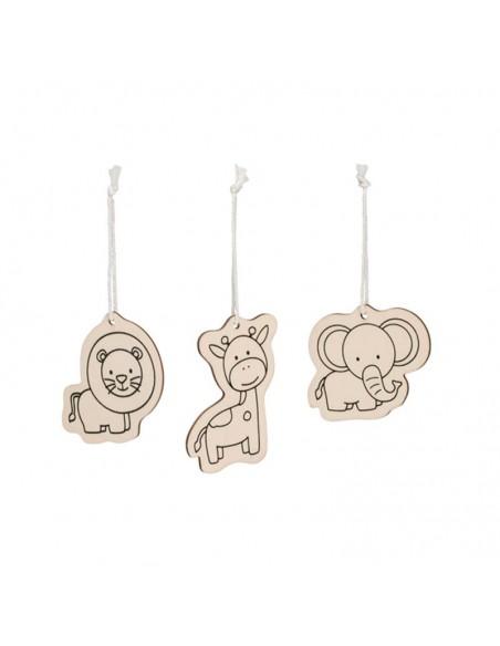 Figuras de animales, en madera, para colorear.