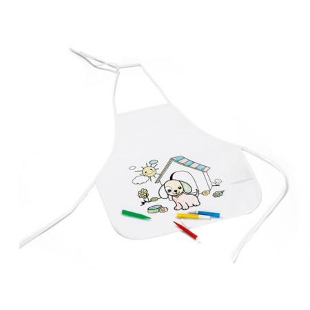 Delantal infantil con rotuladores para colorear, con dibujo de perrito