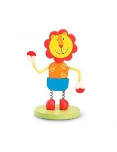 Portafotos infantil con la figura de un león, unido a la base por muelles