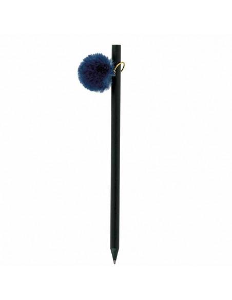 Lápiz de madera con pompón de color azul