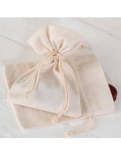 Bolsa de algodón mediana, 10x14 cm, de color marfil. Para decorar los regalitos