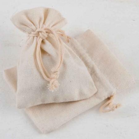 Bolsa de algodón pequeña (7,5x10 cm.) de color marfil