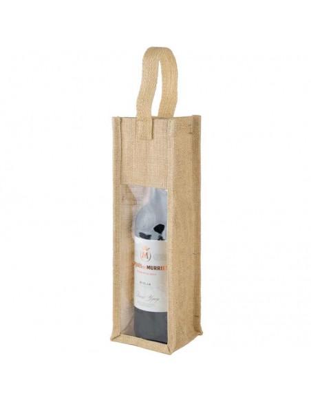 Oribinal bolsa en yute para botella de vino