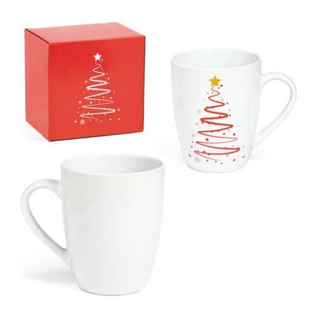 Taza de cerámica decorada con un Árbol de Navidad y caja de regalo
