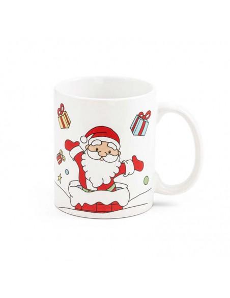 Detalle de la decoración de la taza Papá Noel