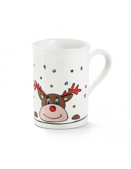 Detalle de la taza mug decorada con un Reno Navidad