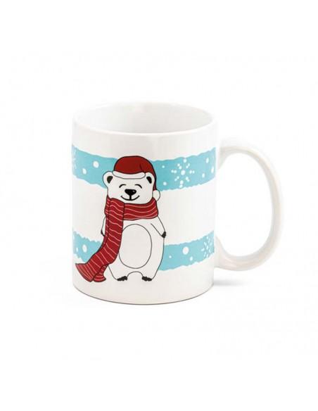 Detalle del dibujo del oso polar de la taza