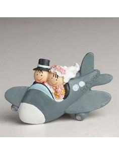 Imán novios en avión, recuerdo para boda