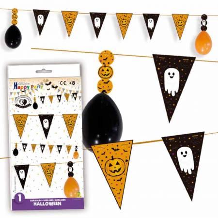 Guirnalda para Halloween con globos y banderines
