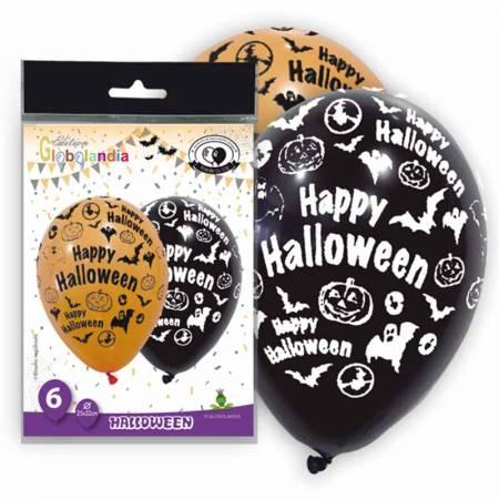 Bolsa 6 globos de látex Happy Halloween