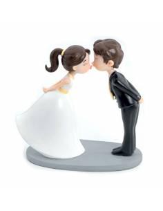 Figura para pastel de boda, novios tierno beso